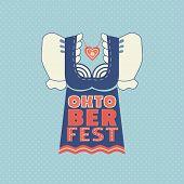 Oktoberfest Hand Drawn Flat Color Vector Icon. Beer Festival Traditional Dirndl Lettering Design Ele poster