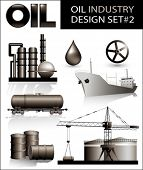 stock photo of black-cock  - Design set of oil industry vector images  - JPG