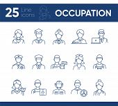 Occupation Icons. Set Of Line Icons On White Background. Painter, Officer, Nurse. Profession Concept poster