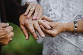 Elder Couples Hands Put On The Wedding Rings On Each Other. Elderly Couple Wedding.gold Couple Is Ge poster