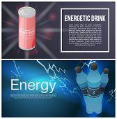 Energetic Drink Banner Set. Isometric Set Of Energetic Drink Vector Banner For Web Design poster