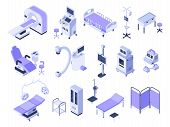 Isometric Hospital Tools. Medical Diagnostic Equipment, Healthcare Monitoring And Health Care Diagno poster