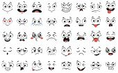 Cartoon Faces. Expressive Eyes And Mouth, Smiling, Crying And Surprised Character Face Expressions.  poster