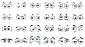 Funny Cartoon Eyes. Human Eye, Angry And Happy Facial Eyes Expressions. Comic Facial Character Caric poster