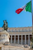 Rome, Italy - April, 2018: Detail Of The Statues Of The Vittorio Emanuele Ii Monument Also Called Al poster