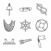 Vector Design Of Ocean And Travel Symbol. Collection Of Ocean And Voyage Stock Symbol For Web. poster