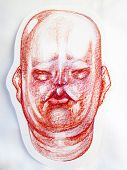 A Drawing Of The Head Of A Thick Pink Chinese Gentleman With Thick Cheeks And Folds On The Neck And  poster