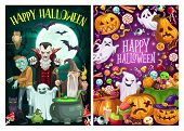 Happy Halloween Holiday Celebration, Trick Or Treat Party Monster Candies. Vector Cartoon Scary Pump poster