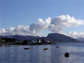pic of carron  - A view from Plockton a small picturesque village in Scotland looking across Loch Carron - JPG