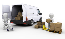 stock photo of moving van  - 3D render of people unloading boxes from a van - JPG