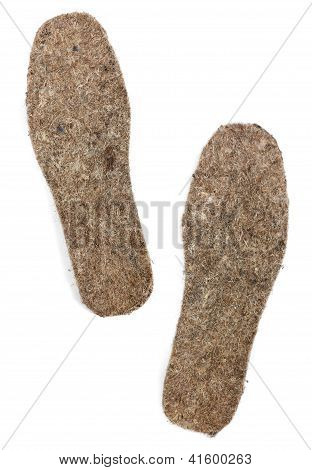 Felt Insoles On White Background