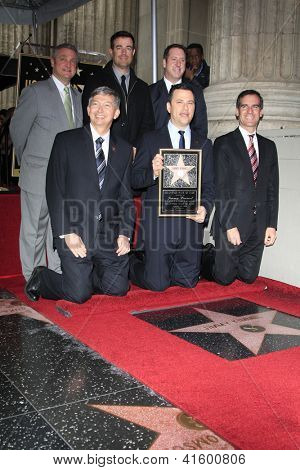 LOS ANGELES - JAN 25: Leron Gubler, Jimmy Kimmel, Gil Garcetti, Carson Daly at a ceremony as Jimmy Kimmel is honored with a star on the Hollywood Walk of Fame on January 25, 2013 in Los Angeles, CA
