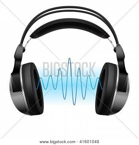 Auriculares y onda de la música.