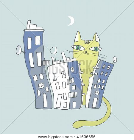 Giant Cat Watching Over City Condos