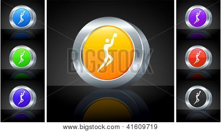 Basketball Icon on 3D Button with Metallic Rim Original Illustration