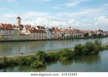 Panorama Of Old Beautiful Town Regensburg ,bavaria,germany,unesco Heritage
