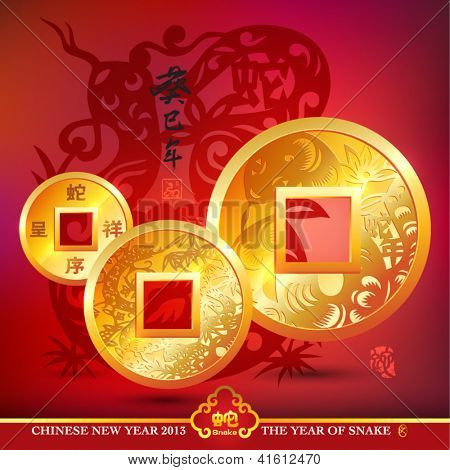 Vector Chinese Copper Coins, Translation: Kimi Snake Year