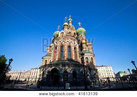 ST.PETERSBURG, RUSSIA - MAY 21: Church of Savior on Spilled Blood in May 21, 2012 in St.Petersburg, Russia. Construction began in 1883 under Alexander III, as memorial to his father, Alexander II