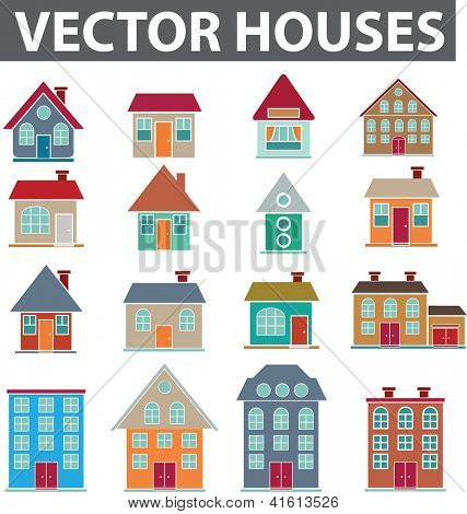 vector houses icons set, vector