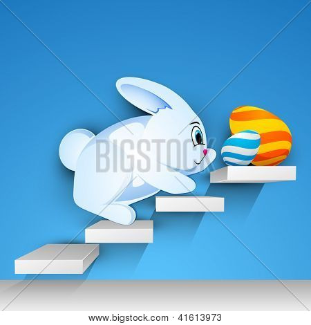 Easter rabbit with beautiful painted Easter eggs on stairs, Happy Easter Background. EPS 10.