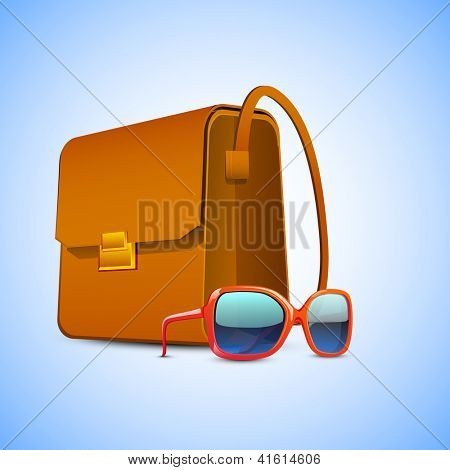 Ladies handbag and sunglasses on blue, Happy Women's Day background. EPS 10.