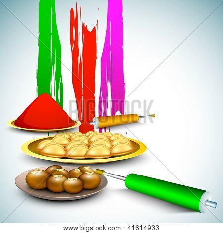 Indian colorful festival Holi celebration background with colors splash, sweets, colors gun (pichkari). EPS 10.