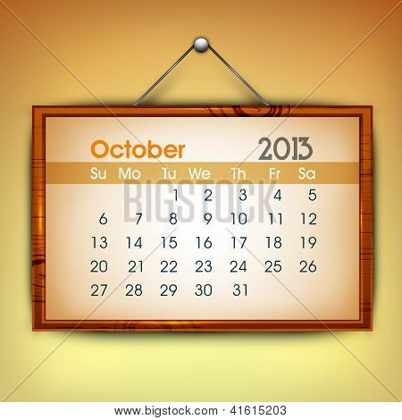 October month calender 2013. EPS 10.