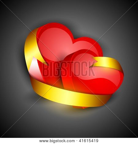 Happy Valentine's Day red hearts background with golden ribbon on grey background. EPS 10.