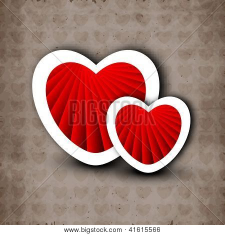 Happy Valentine's Day background with beautiful red hearts on grey textured background. EPS 10.