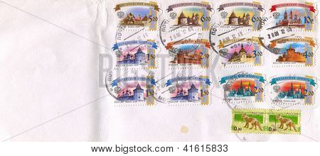 RUSSIA - CIRCA 2009: Mailing envelope with postage stamps dedicated to: Moscow  Krom; Pskov Krom; Novgorod Krom; Kazan  Krom; Zaraysk Krom; Rostov Krom; Wolf, circa 2009.