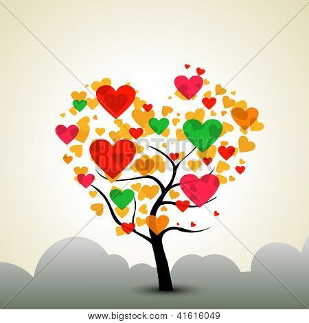 Valentines Day background with love tree.