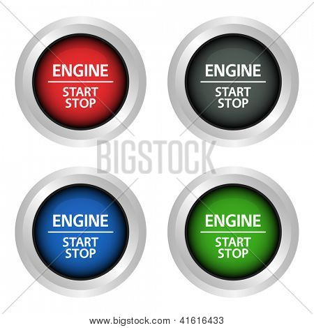 Engine start and stop power buttons.