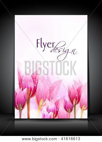 Professional business flyer template or corporate banner with tulip flowers for publishing, print and presentation.