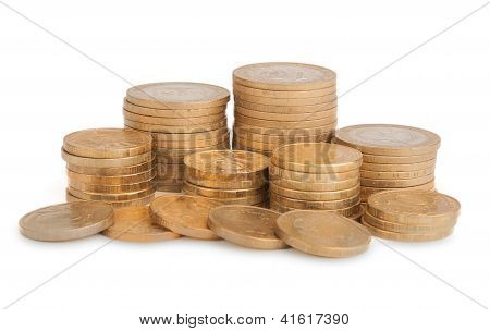 Towers Of Gold Coins Isolated On White Background