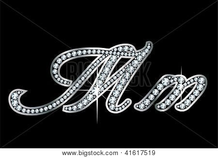 Script Diamond Bling Mm Letters