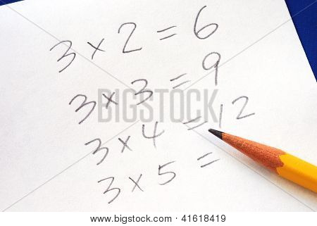 Practice the multiplication table with a pencil