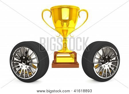 Gold Trophy With Wheels