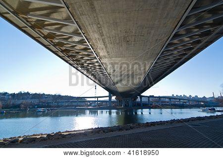 Below the bridge construction site