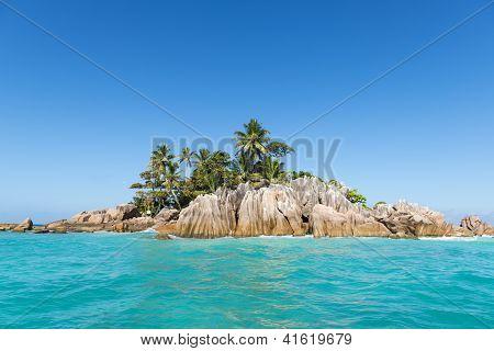 Tropical Island. Calm Exotic Beach Resort In Background