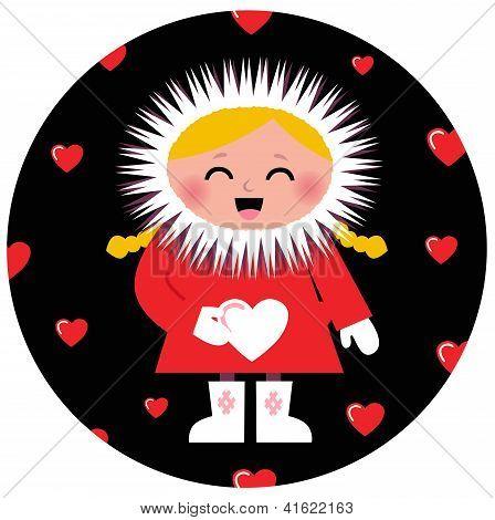 Cute Eskimo Girl Holding Heart Design