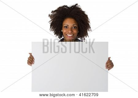 Young Afro American With White Board