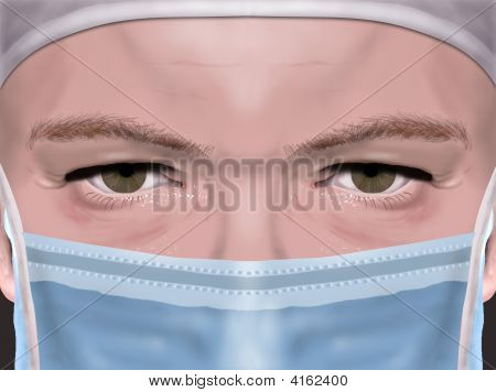 Portrait Close-Up Of A Surgeon With Mask