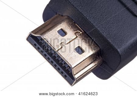 Macro Shot Of A Golden Hdmi Cable Isolated On White