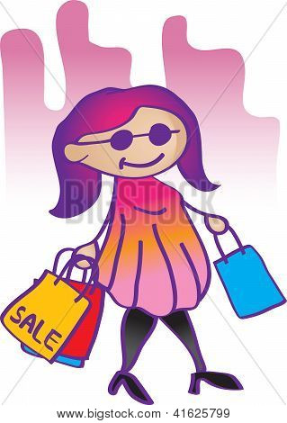 Illustration Fashion Girl Shopping