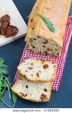 Snack Cake With Sun-dried Tomatoes And Black Olives