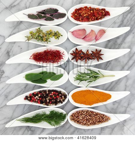 Herb and spice selection in white porcelain leaf shaped dishes over marble background.