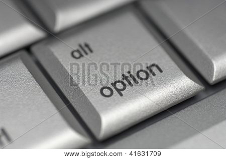 Closeup of option shortcut key on computer keyboard