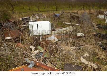 Fly Tipped Rubbish In The Country