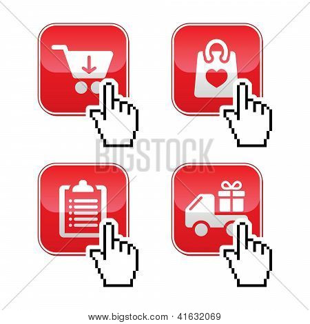 Shopping buttons set with cursor hand icon