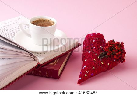 Decorative Red Heart With Books And Coffee